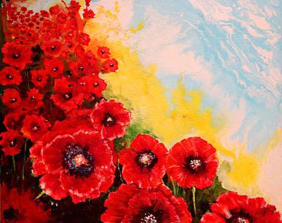 All Poppies Painting - Glowing Poppies I by Carole Sluski