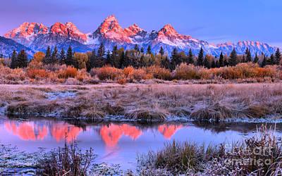 Photograph - Glowing Red Teton Peaks by Adam Jewell