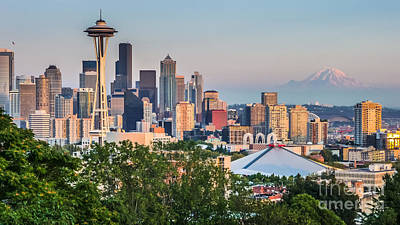 Photograph - Glowing Seattle Skyline by JR Photography
