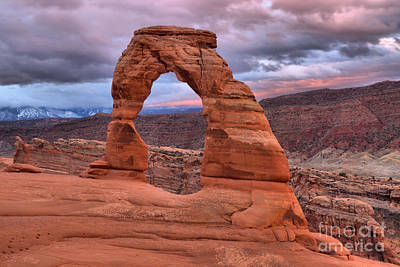 Photograph - Glowing Skies Over Delicate Arch by Adam Jewell