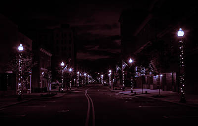 Glowing Streets Downtown Art Print