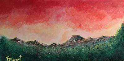 Smokey Mountains Painting - Glowing Sunset by Bridget Marnet Powell