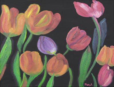 Painting - Glowing Tulips by Meryl Goudey