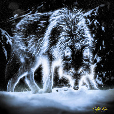 Art Print featuring the photograph Glowing Wolf In The Gloom by Rikk Flohr