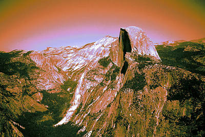 Photograph - Red Glowing Yosemite Half Dome by Art America Gallery Peter Potter