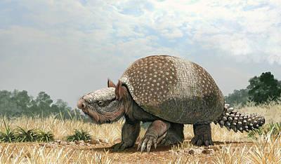 Prehistoric Digital Art - Glyptotherium Arizonae, A North by Roman Garcia Mora
