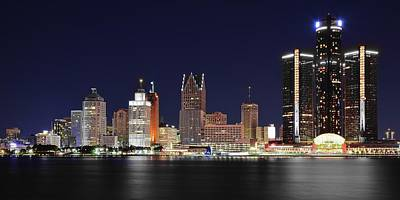 Photograph - Gm Towers Over Detroit by Frozen in Time Fine Art Photography