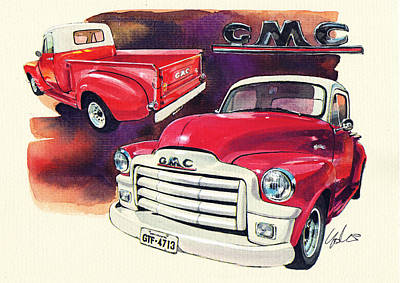 Pick Up Truck Painting - Gmc Pick Up Truck by Yoshiharu Miyakawa