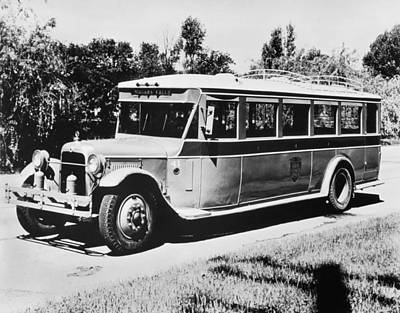 Bus Photograph - Gm's First Bus Line by Underwood Archives