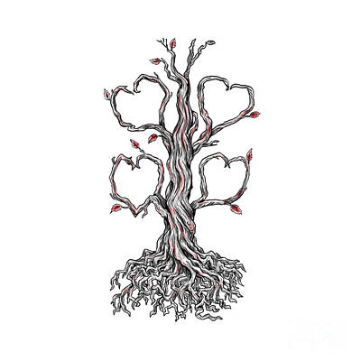 Tree Roots Digital Art - Gnarly Oak Tree Heart Tattoo by Aloysius Patrimonio