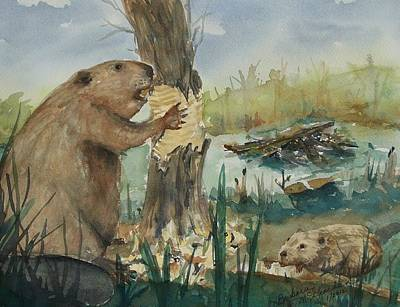 Gnawing Painting - Gnawing Beaver by Barbara McGeachen