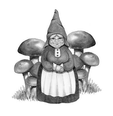 Drawing - Gnome Lady With Mushrooms by Joyce Geleynse