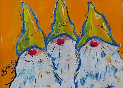 Painting - Gnome Triplets by Terri Einer