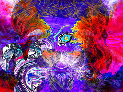 Go Ask Alice And The Mad Hatter Art Print by Abstract Angel Artist Stephen K