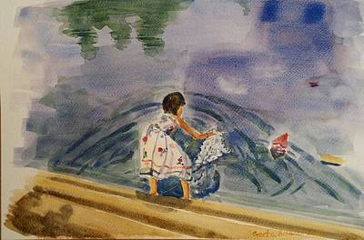 Floating Girl Painting - Go Baby Go Watercolor Painting by Geeta Biswas