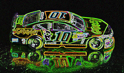 Go Daddy Racing Champion Neon Print by Bruce Roker