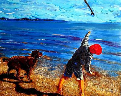 Dog Play Sea Painting - Go Fetch Milo 2  by Eli Gross