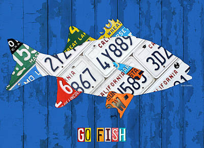 Go Fish Freshwater Bass Recycled Vintage License Plate Art Art Print by Design Turnpike
