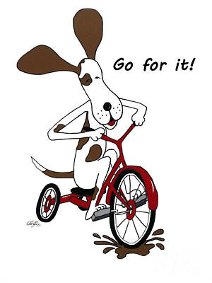 Tricycle Drawing - Go For It by Cheryl Rose