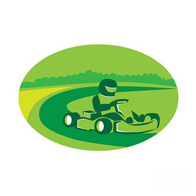 Go Kart Wall Art - Digital Art - Go Kart Racing Oval Retro by Aloysius Patrimonio