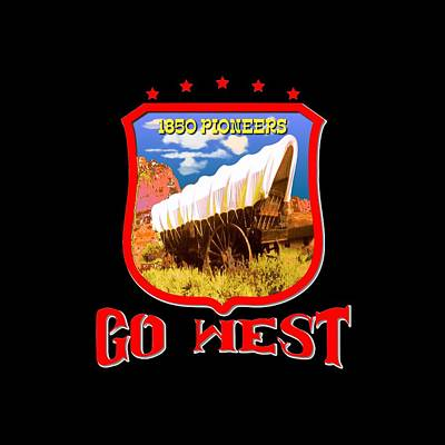 Tapestry - Textile - Go West Pioneer - Tshirt Design by Art America Gallery Peter Potter