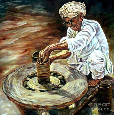 Master Potter Painting - 'go With The Flow' by Murali