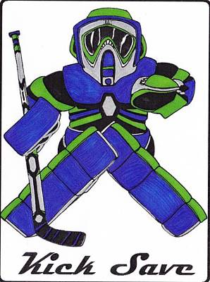 Vancouver Drawing - Goalie Blue Green by Hockey Goalie