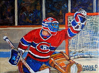 Montreal Winter Scenes Painting - Goalie Makes The Save Stanley Cup Playoffs by Carole Spandau