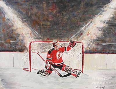 Hockey Painting - Goalkeeper by Miroslaw  Chelchowski