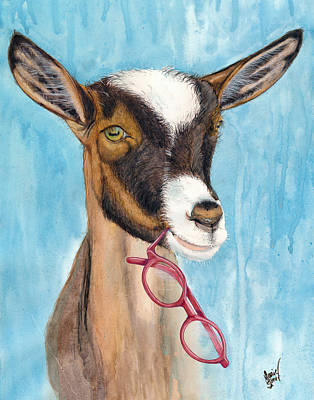 Educating Painting - The Thinking Goat by Marie Stone Van Vuuren