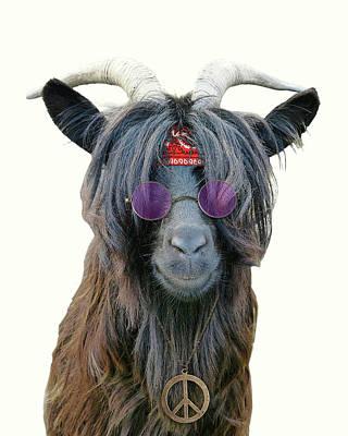 Goat Digital Art - Goat Hippie Red Bandana Americana by Madame Memento
