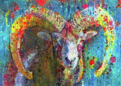 Digital Art - Goat In Colors by Yury Malkov
