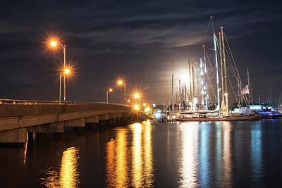 Photograph - Goat Island Bridge Full Moon Newport Ri by Toby McGuire