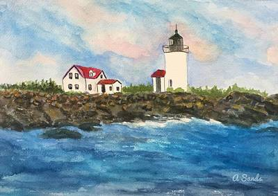 Painting - Goat Island Lighthouse  by Anne Sands