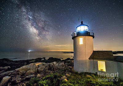 Ledge Photograph - Goat Island Lighthouse At Night by Benjamin Williamson