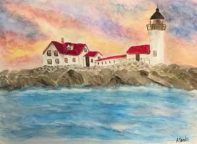 Painting - Goat Island Lighthouse In Maine by Anne Sands