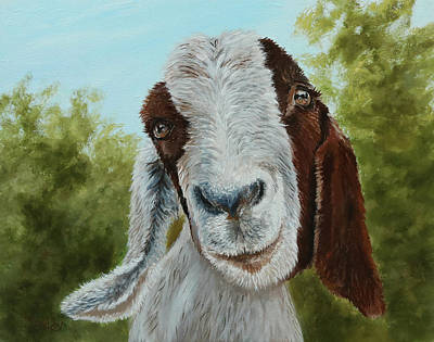 Painting - Goat Kiss by Jan Priddy