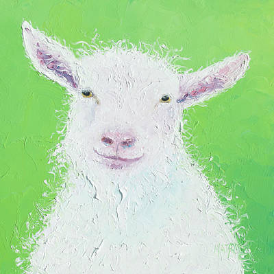 Painting - Goat Painting On Apple Green Background by Jan Matson