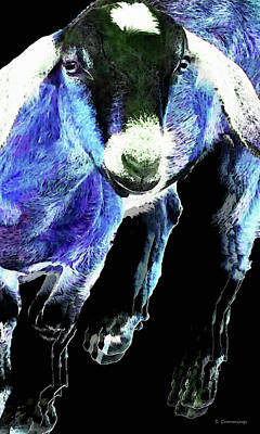 Goat Painting - Goat Pop Art - Blue - Sharon Cummings by Sharon Cummings