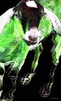 Goat Painting - Goat Pop Art - Green - Sharon Cummings by Sharon Cummings