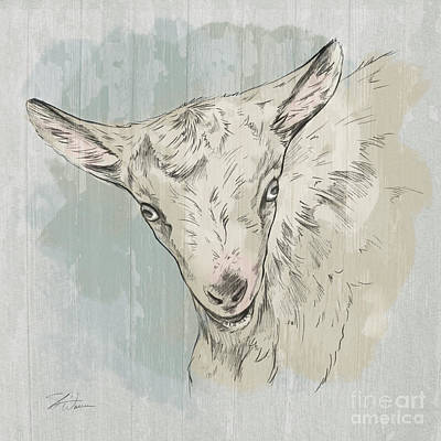 Mixed Media - Goat Portrait-farm Animals by Shari Warren
