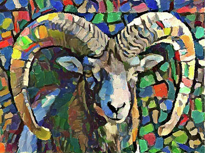 Digital Art - Goat Portrait by Yury Malkov