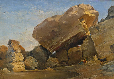 Giacinto Gigante Painting - Goatherd With Goats In A Rocky Inlet by Giacinto Gigante