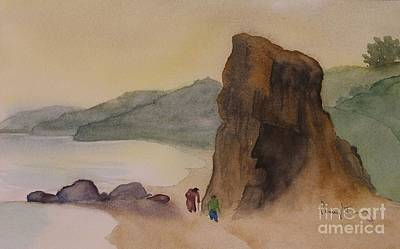 Painting - Goat's Head Beachcombers by Penny Stroening