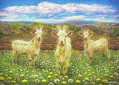 Digital Art - Goats In The Dandelions by Joel Bruce Wallach