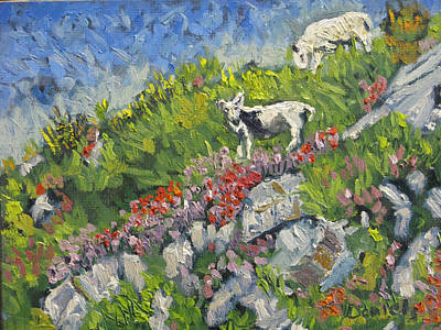Painting - Goats On Hill by Michael Daniels
