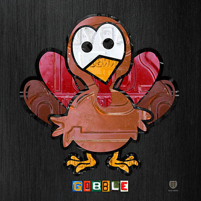 Thanksgiving Mixed Media - Gobble The Turkey Recycled Thanksgiving License Plate Art by Design Turnpike