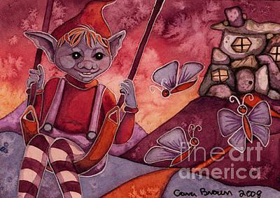 Goblin Hill Aceo Original by Cara Brown