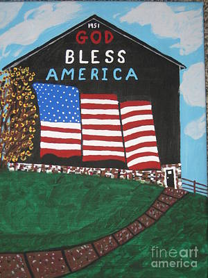 God Bless America Barn Original by Jeffrey Koss