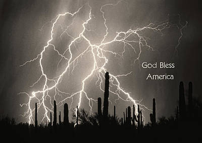 Churches Photograph - God Bless America Bw Lightning Storm In The Usa Desert by James BO  Insogna